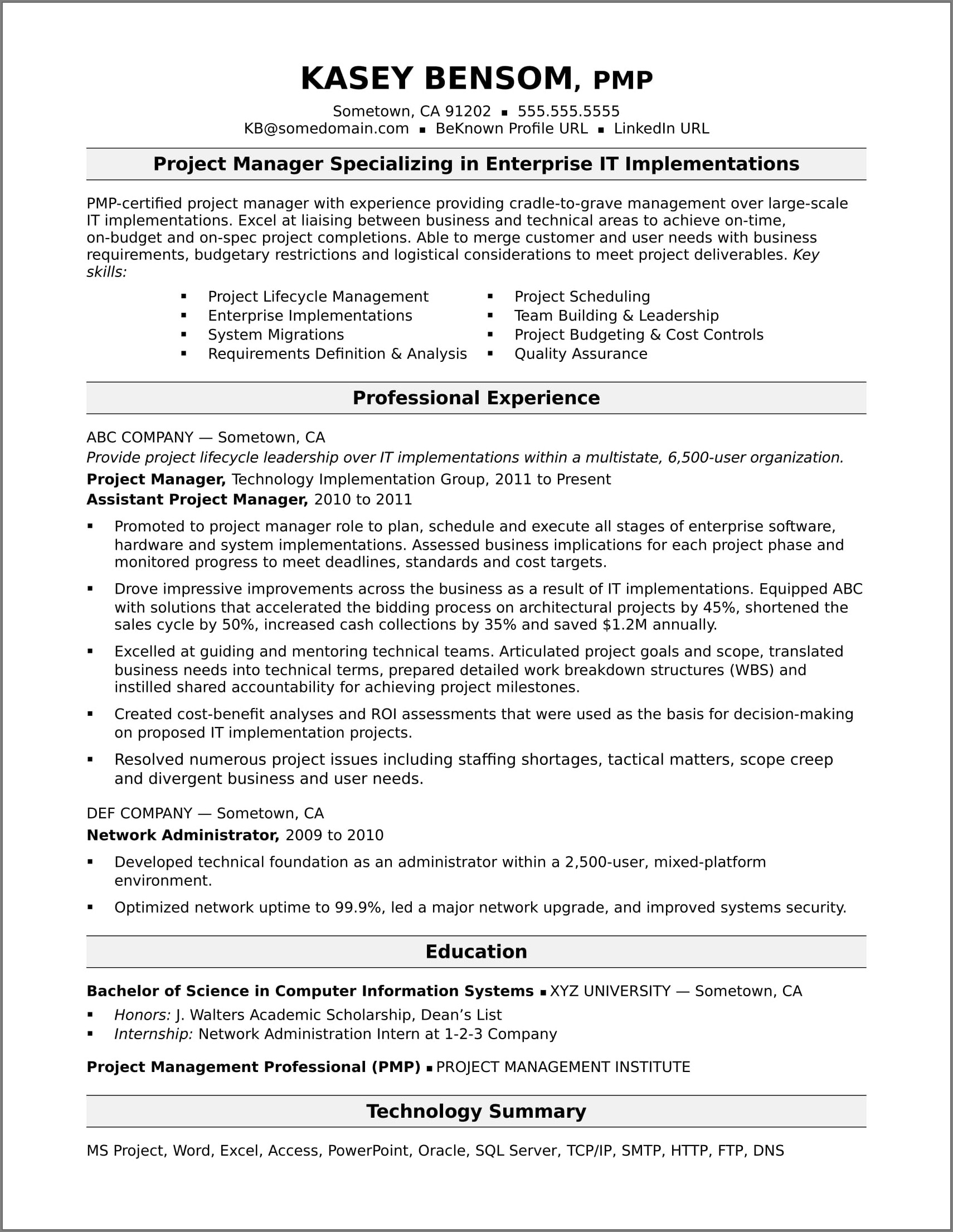 Example Of Good Resume For Project Manager