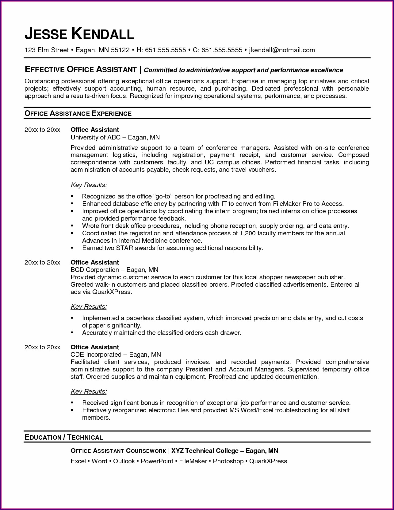 Example Of Resume For Medical Office Assistant