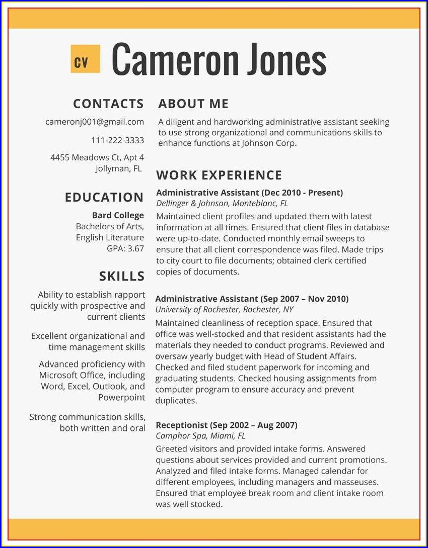 Examples Of Best Resumes 2018