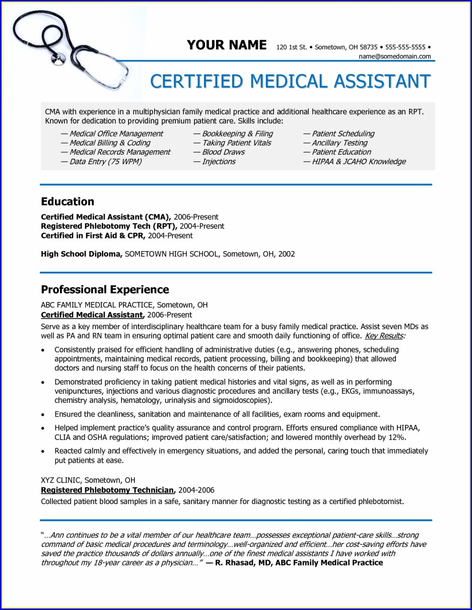 Examples Of Certified Medical Assistant Resumes
