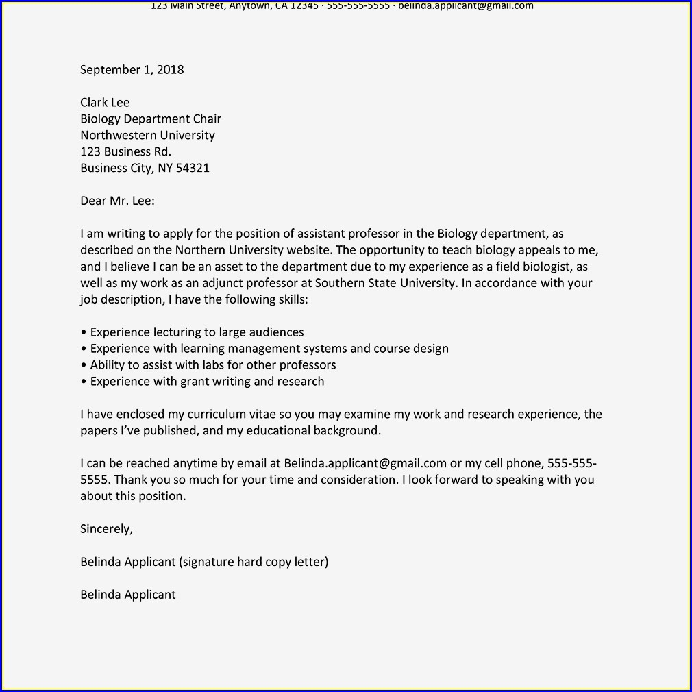 Examples Of Cv And Cover Letters