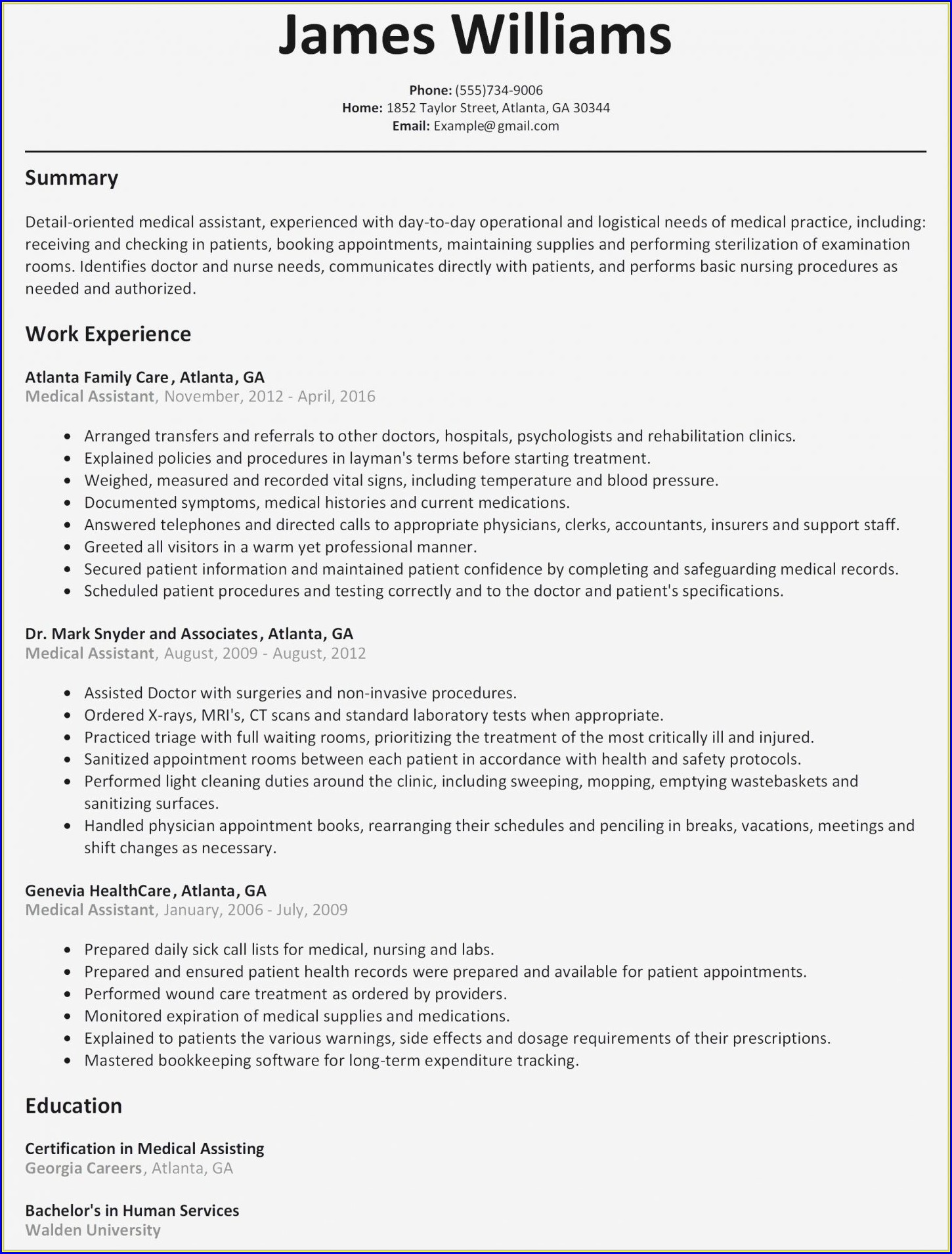 Examples Of Entry Level Medical Assistant Resumes