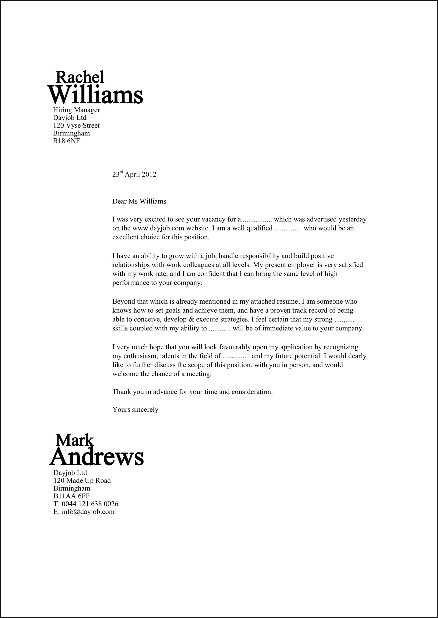 Examples Of Good Resume Cover Letters