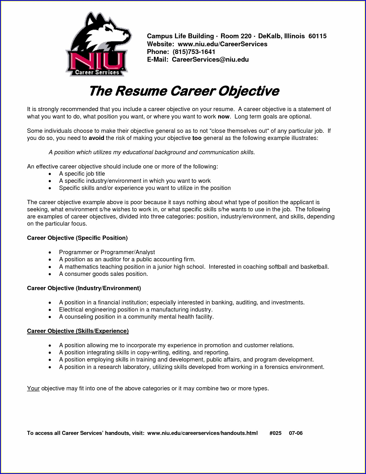 Examples Of Great Resume Objective Statements