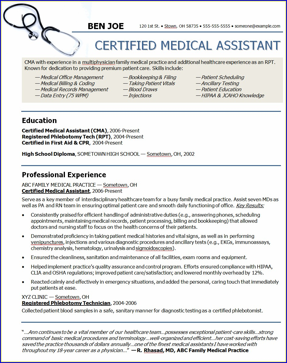 Examples Of Medical Assistant Resumes Objective