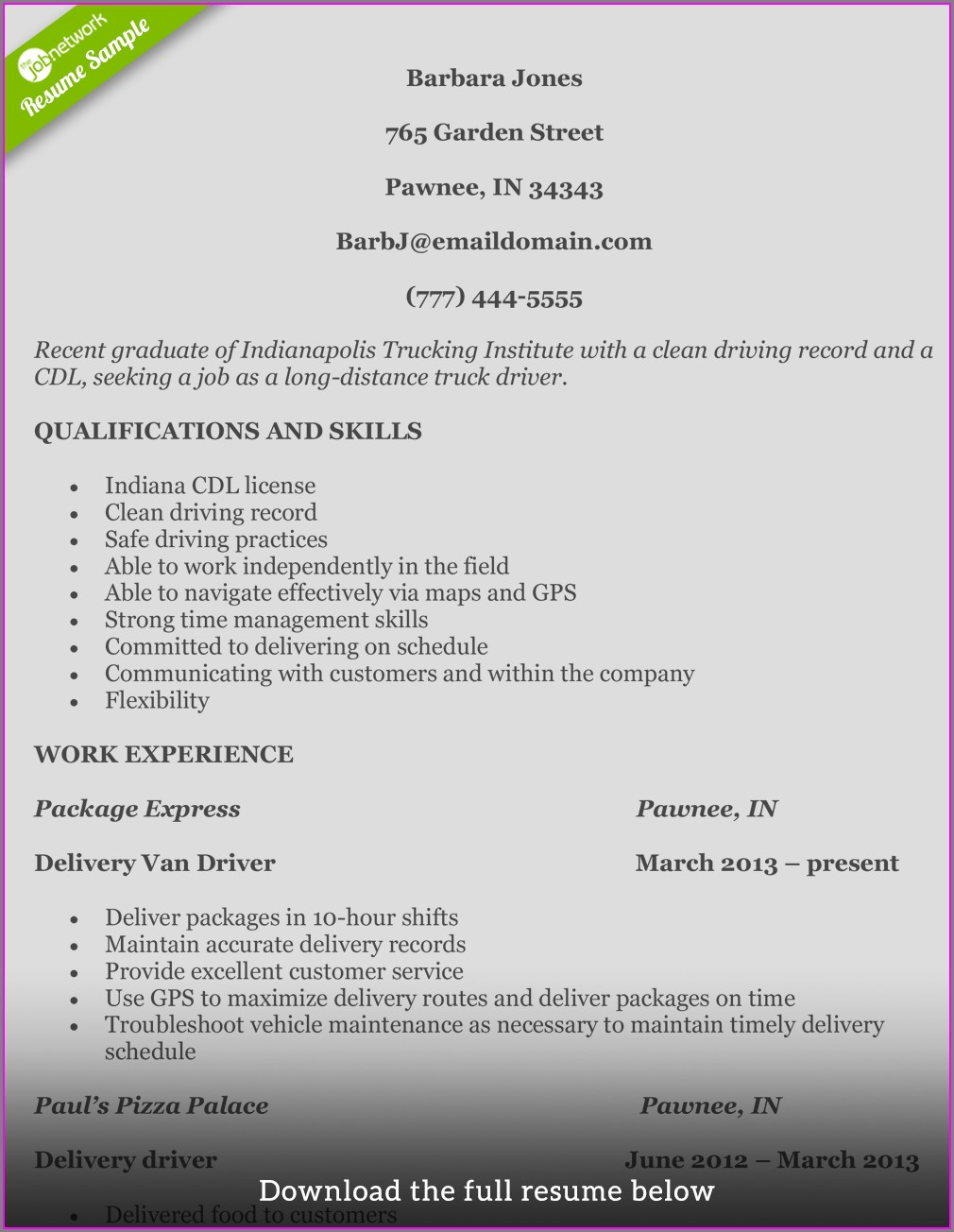 Examples Of Resumes For Truck Drivers