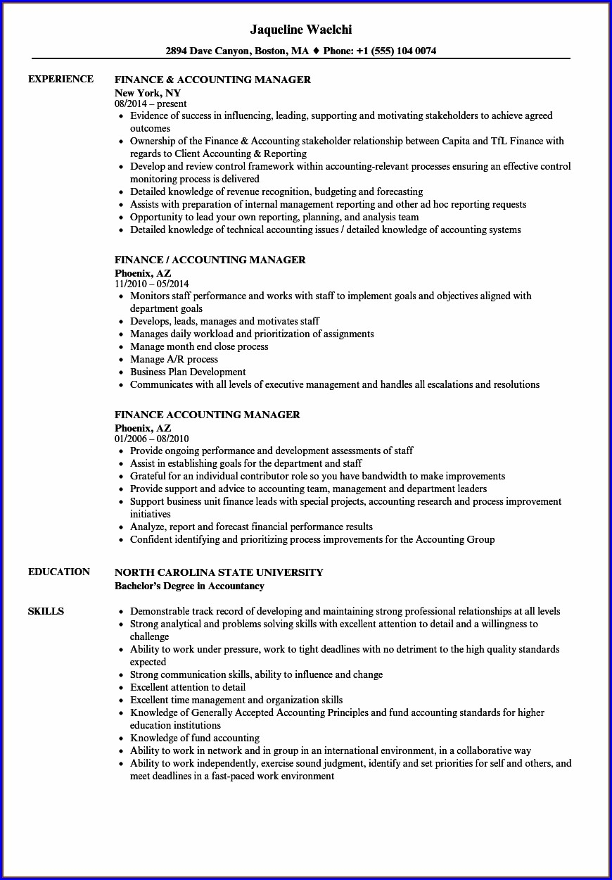 Experience Resume For Accountant Job