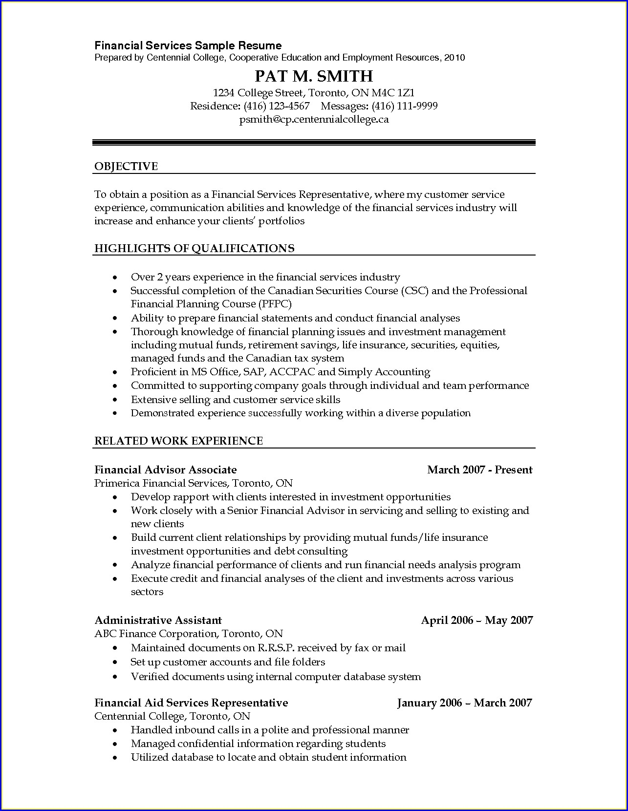 Financial Planner Resume Sample