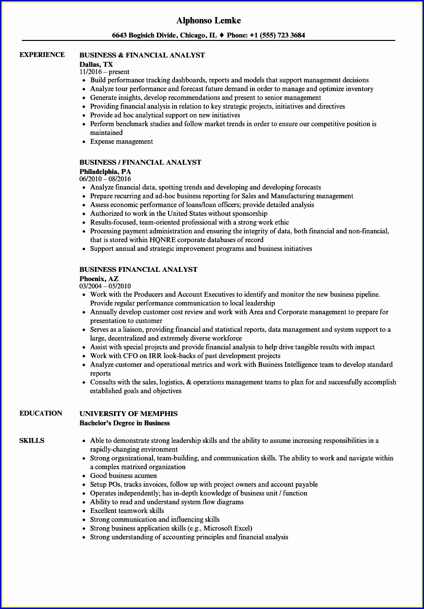 Financial Planner Resume Template