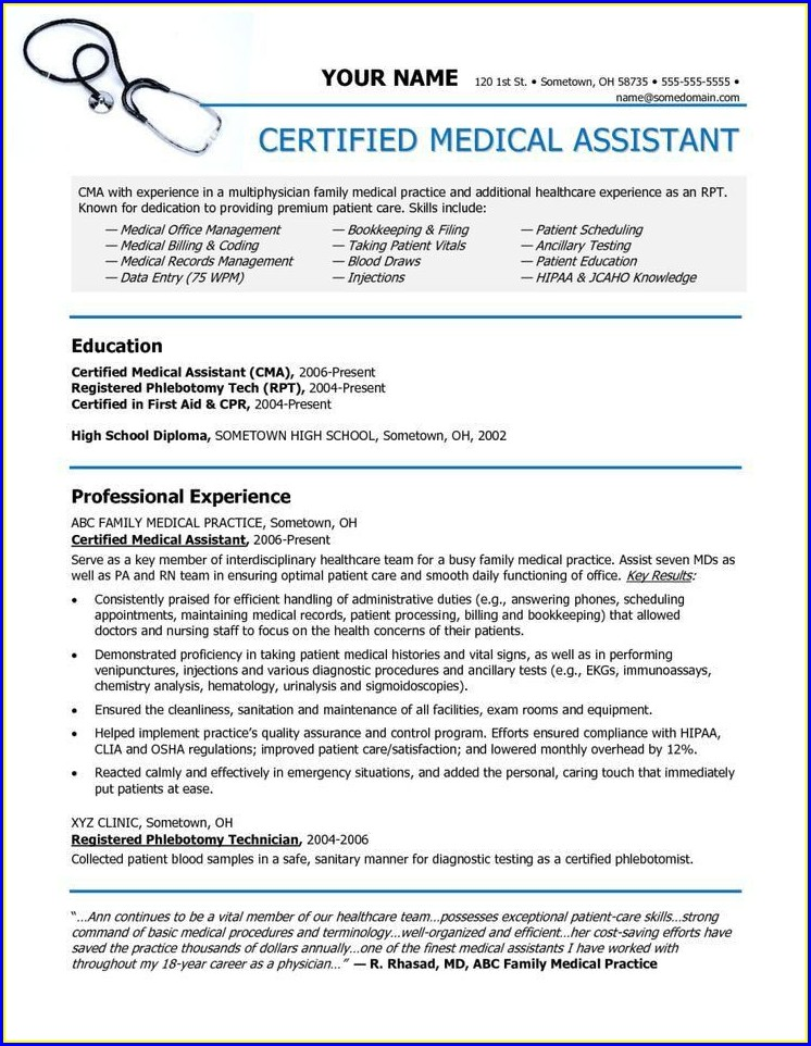 Free Examples Of Medical Assistant Resumes