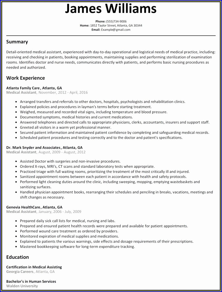 Free Medical Resume Template Microsoft Word