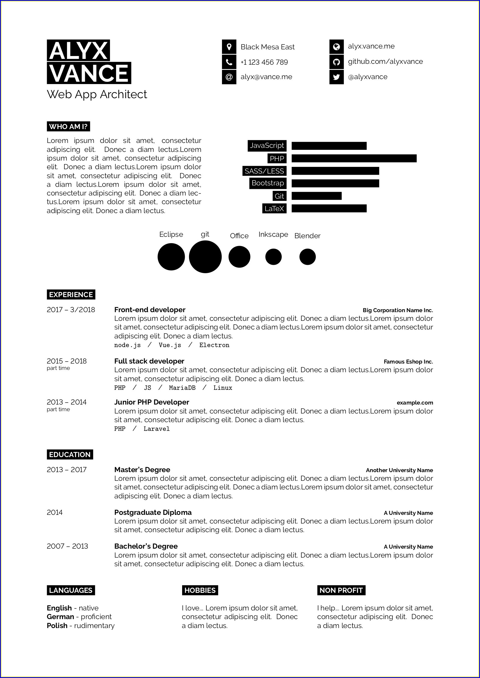 Free Printable Resume Template Pdf