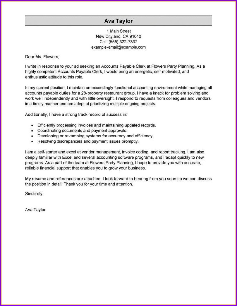 Free Resume Cover Letter Examples Samples