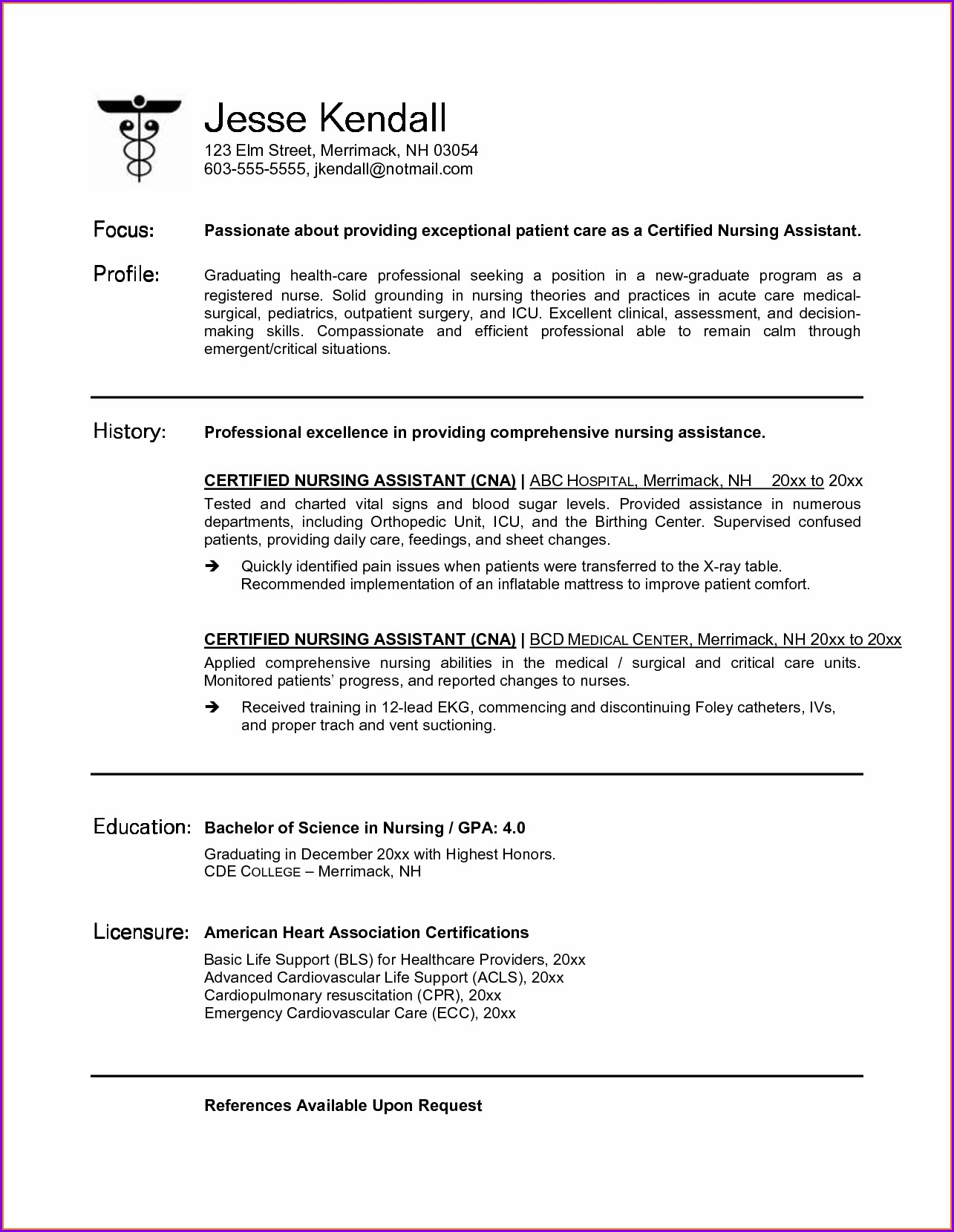 Free Resume Template For Cna
