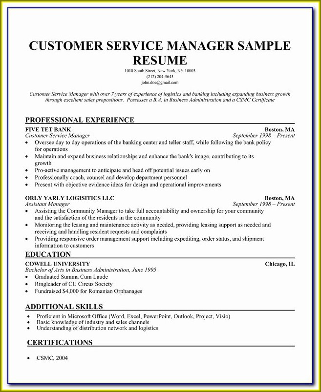 Free Resume Template For Customer Service