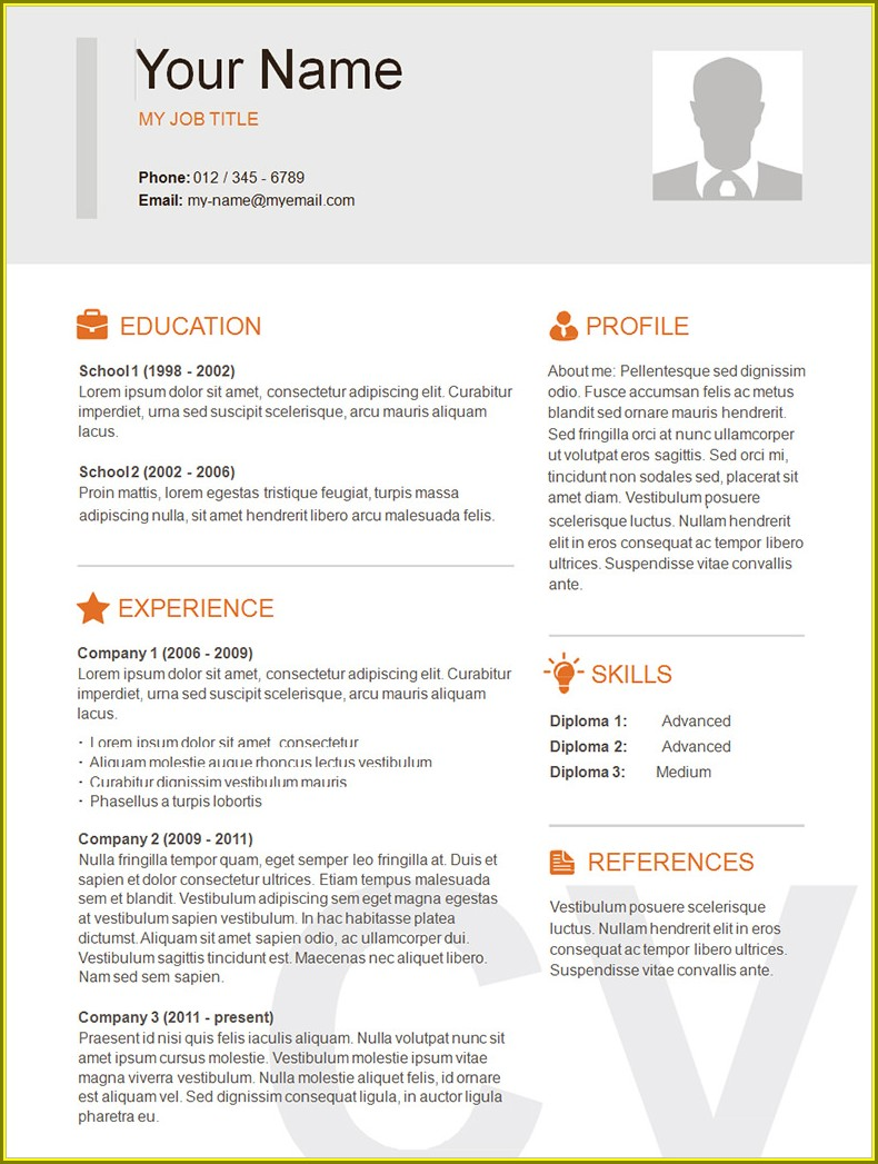 Free Sample Free Printable Resume Templates Pdf