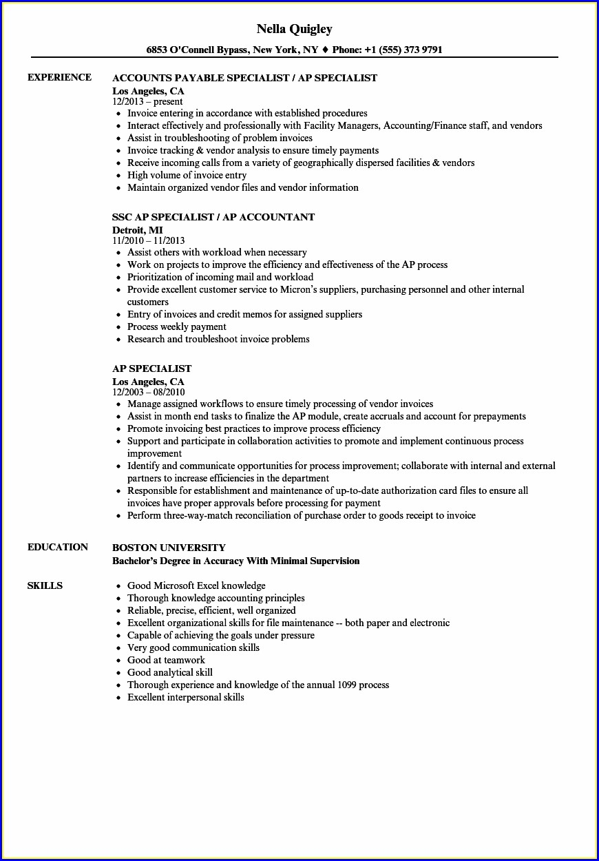 Free Sample Resume For Accounts Payable Specialist