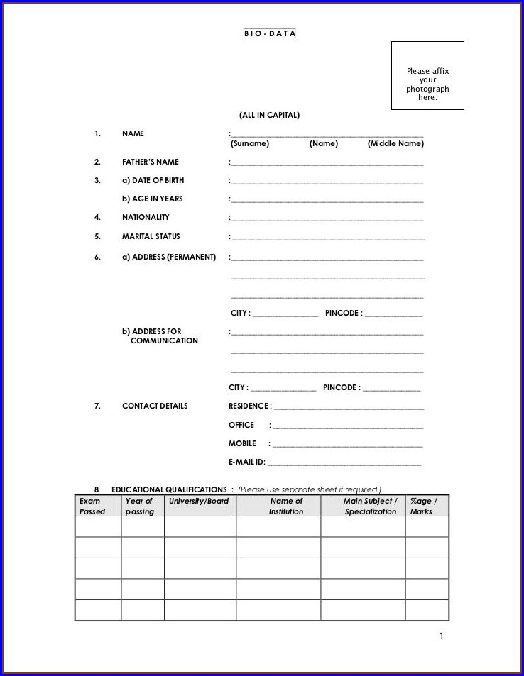 Job New Resume Format Download