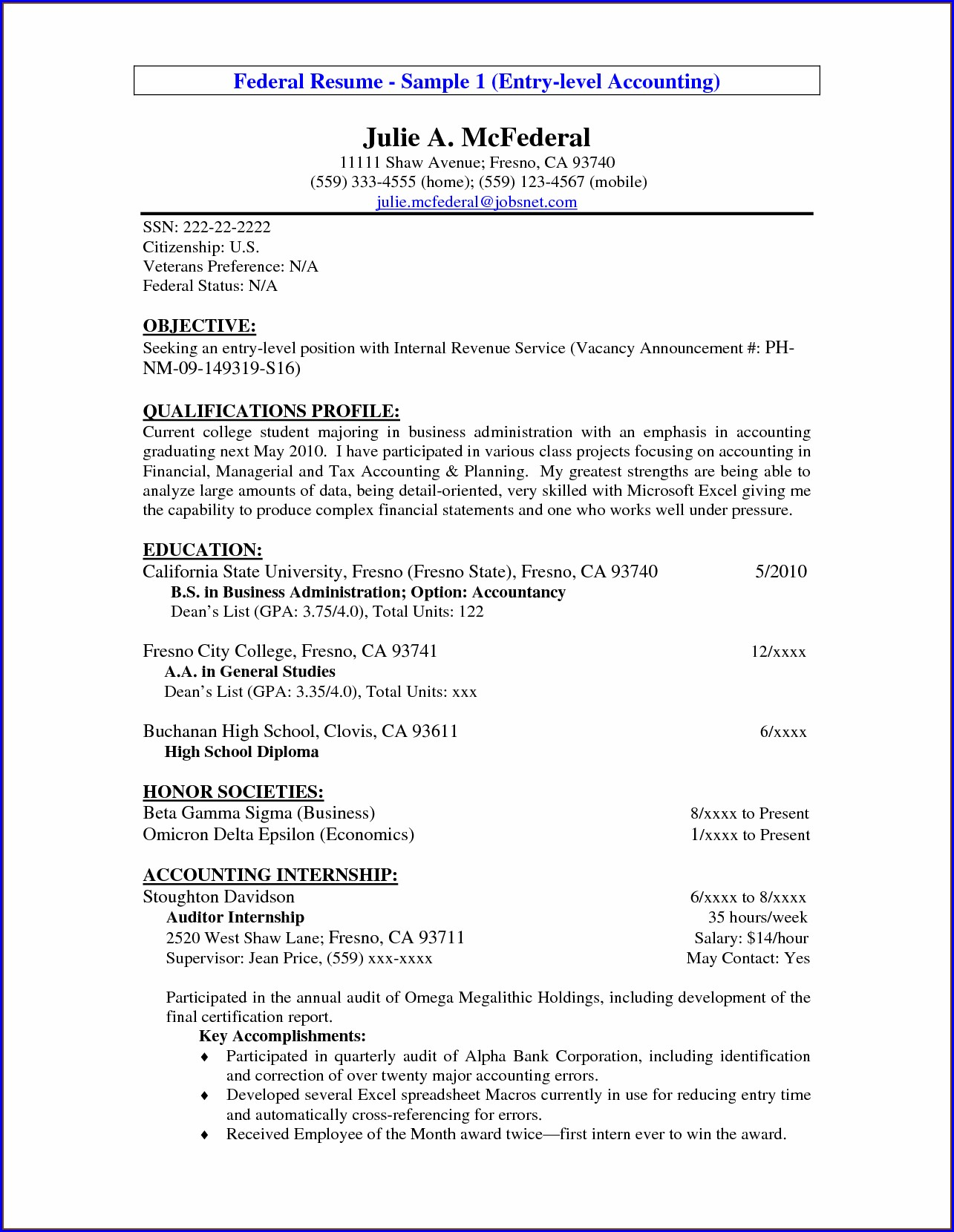 Job Objective For Resume Accountant