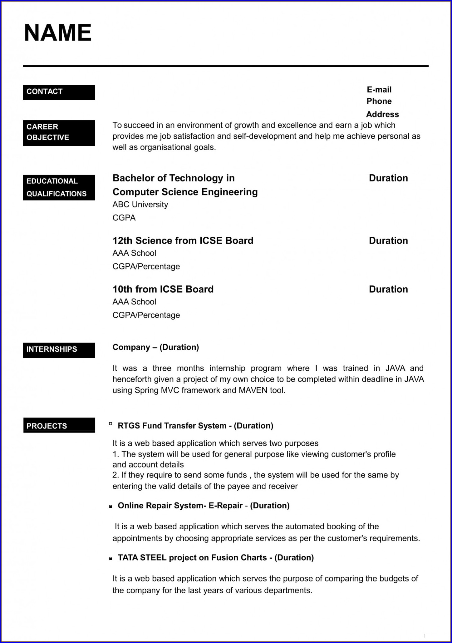 Layout Resume Templates Word Free Download