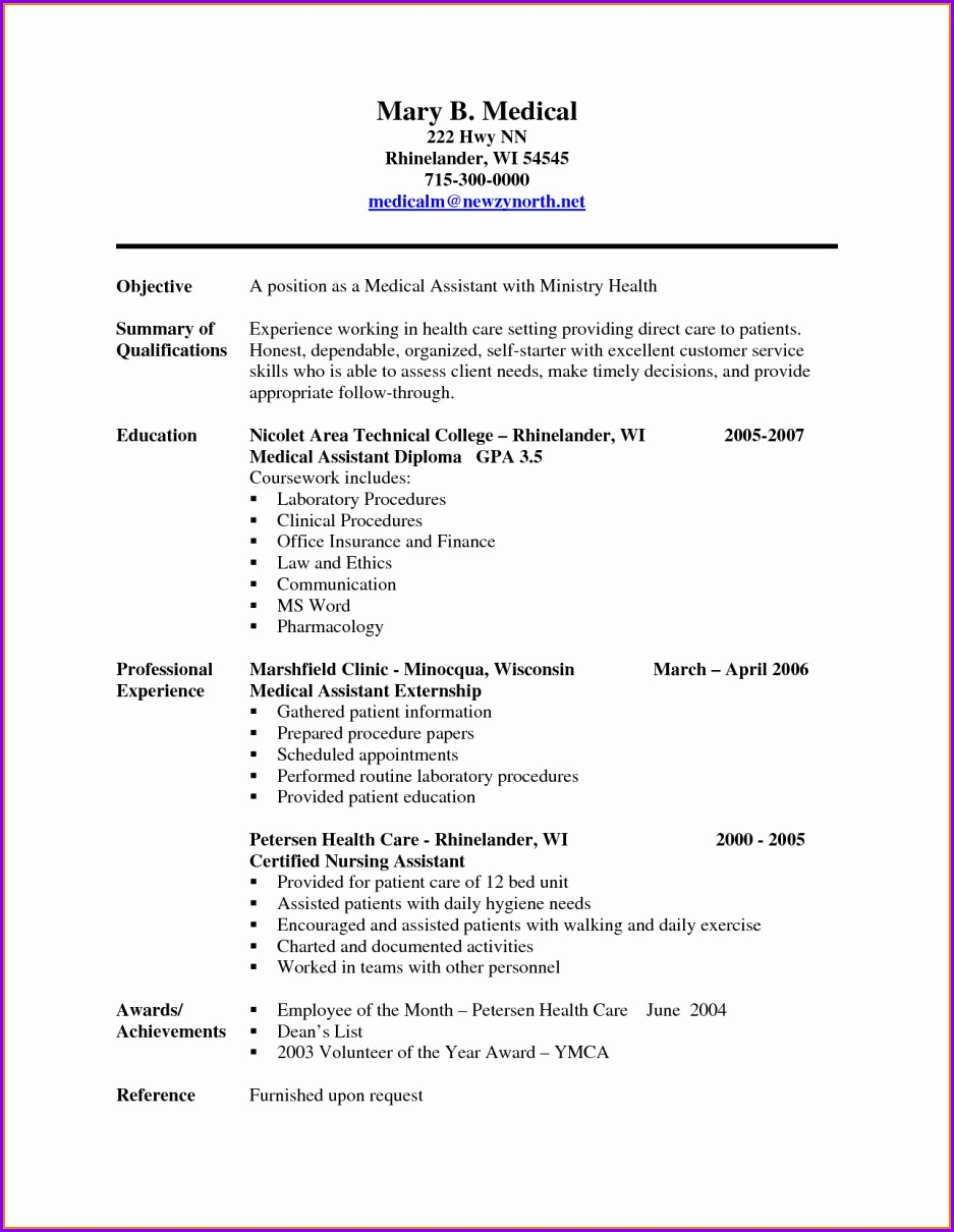 Medical Front Office Assistant Resume Sample