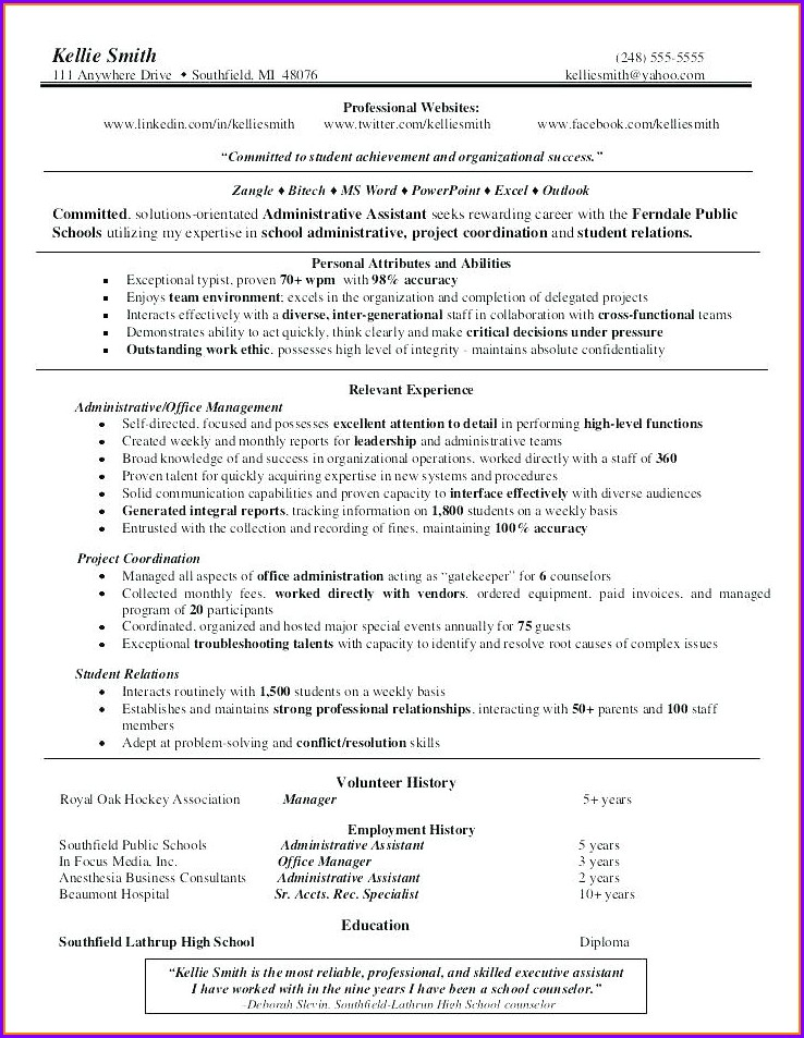 Medical Office Administrative Assistant Resume Examples