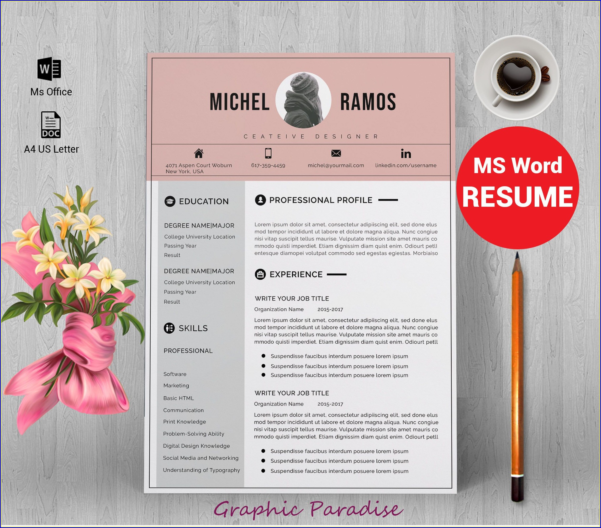 Modern Functional Resume Template Free