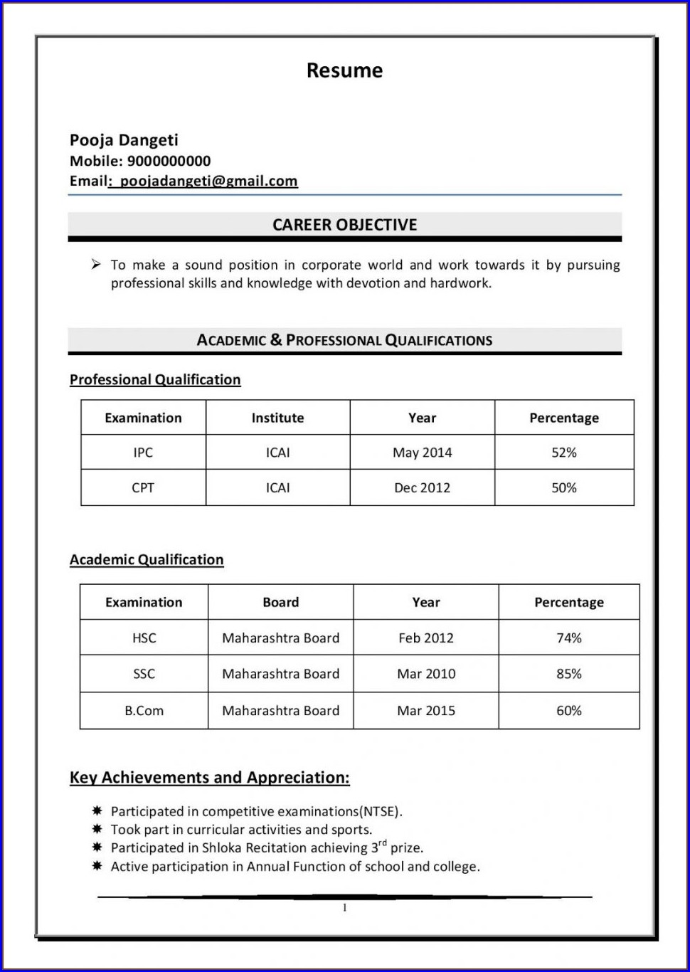 New Model Resume Format Download