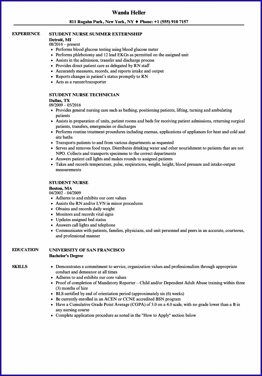 Nursing Student Resume For Rn Position