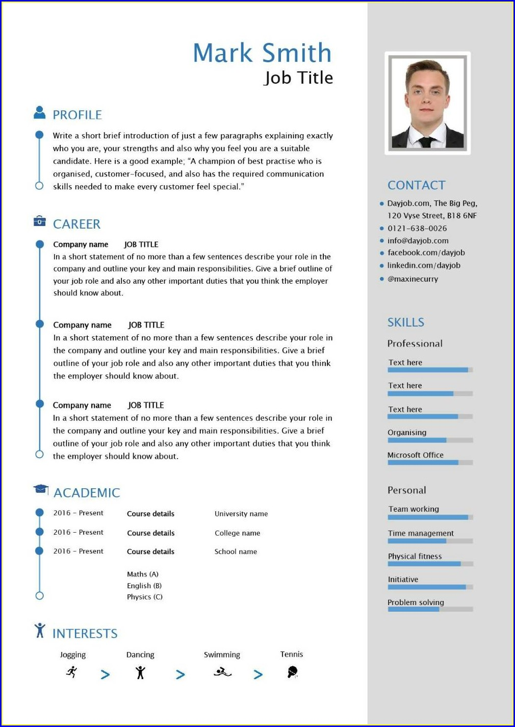 Pdf Cv Template South Africa Free Download