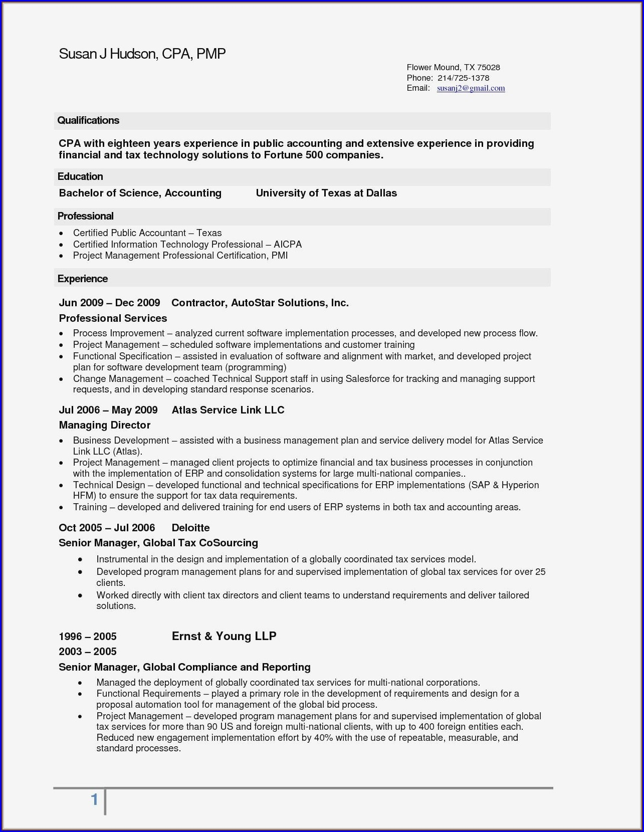 Professional Resume Format For Experienced Accountant