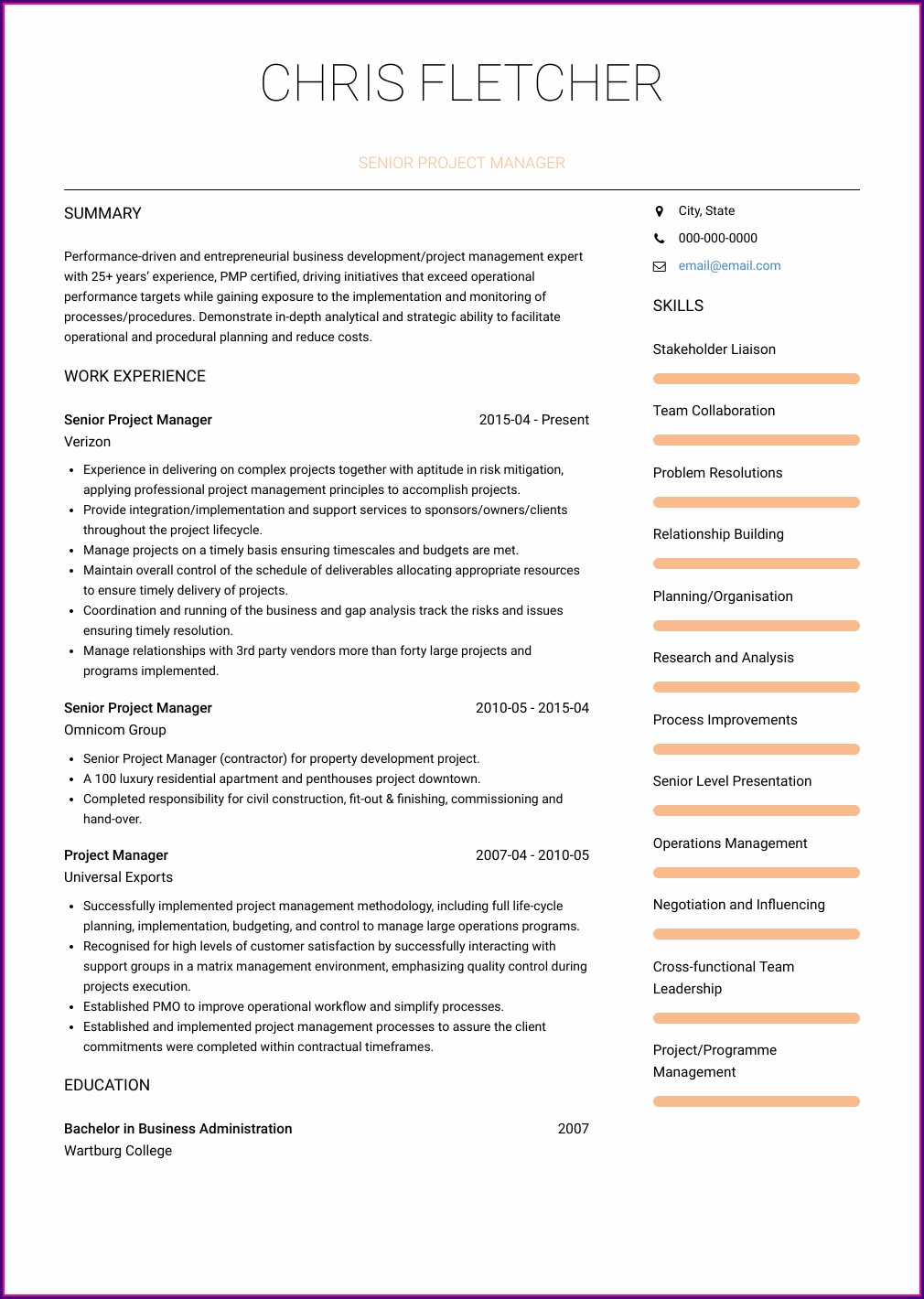 Project Manager Cv Template Free