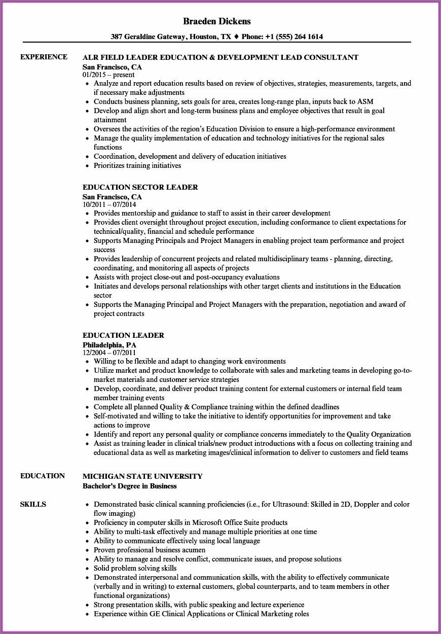 Resume Examples For Educational Leadership