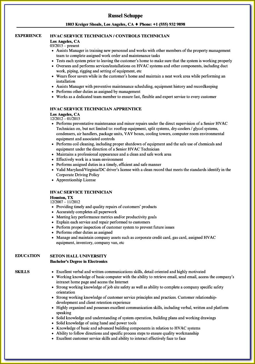 Resume Examples For Hvac Technician
