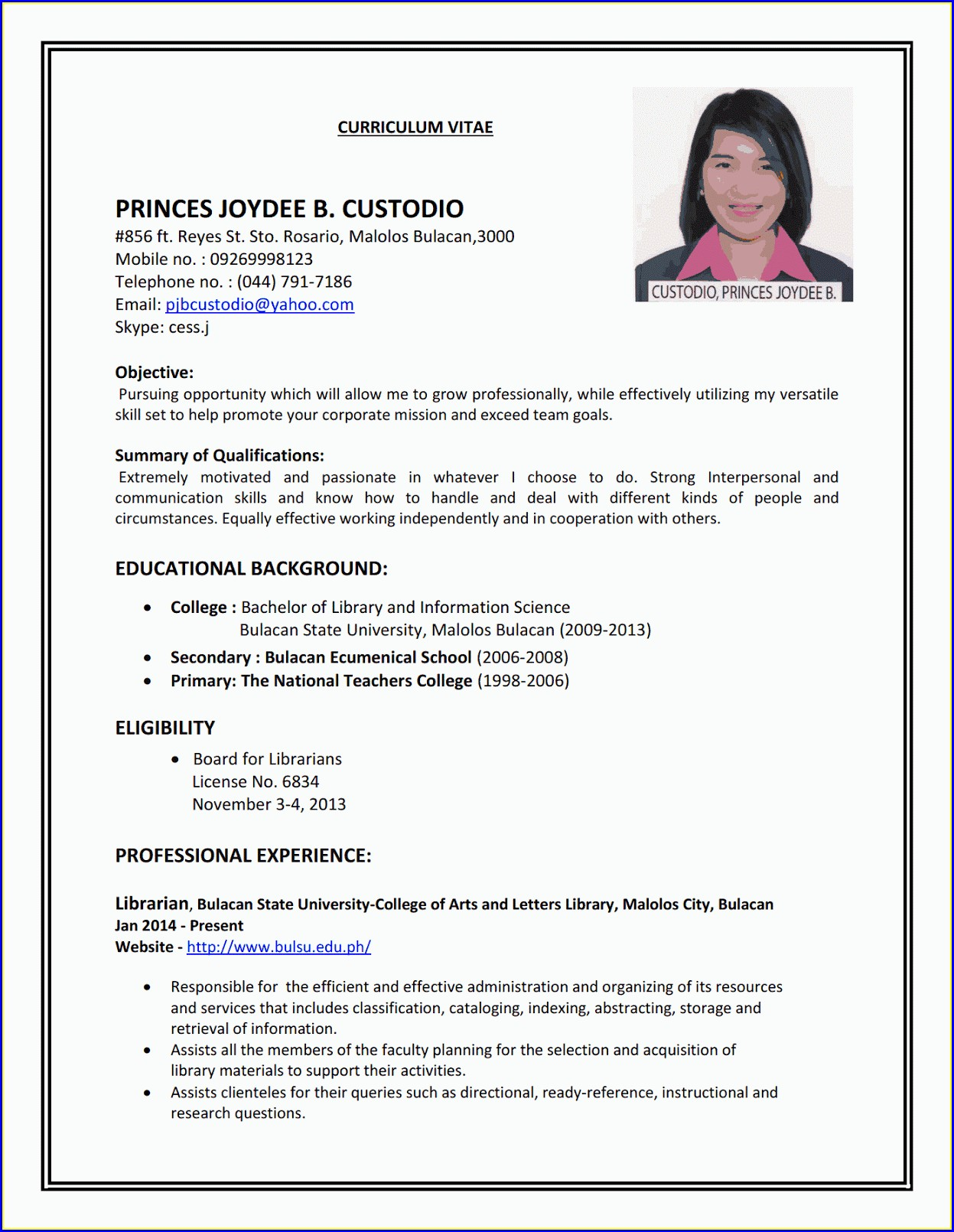 Resume Examples For Jobs 2013