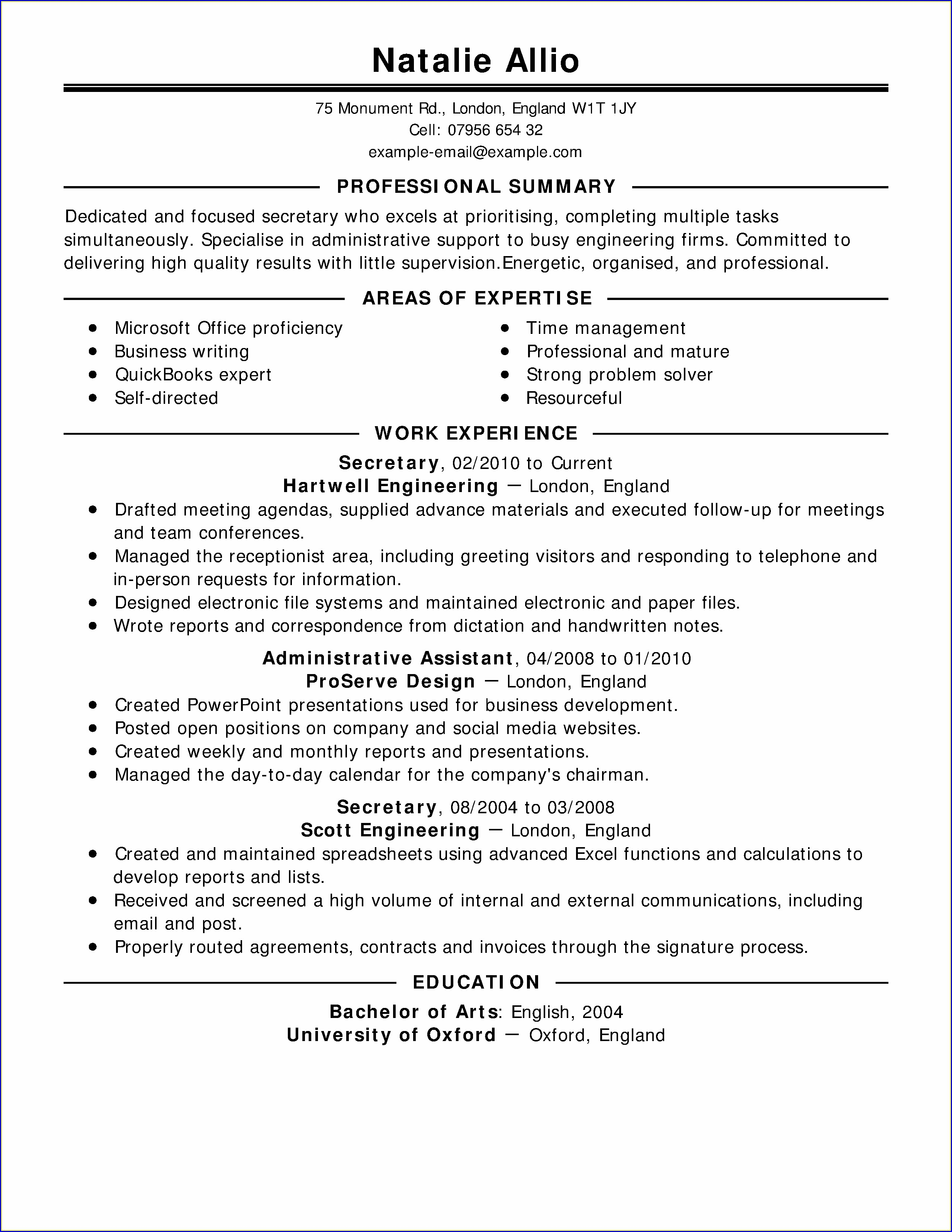 Resume Examples For Jobs With Experience