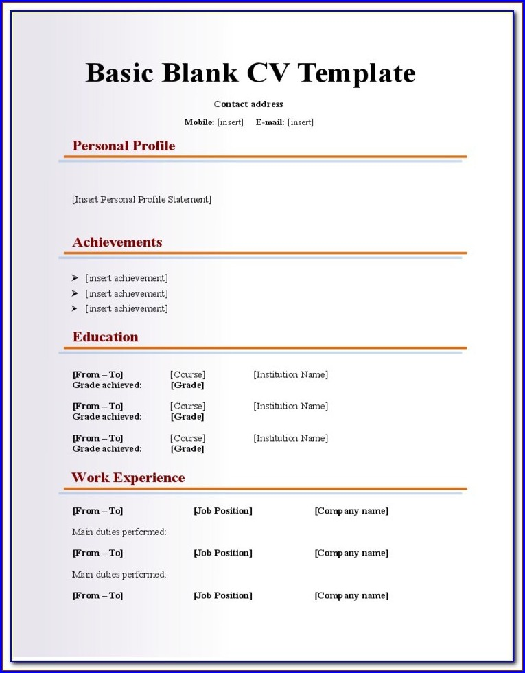 Resume Fill In The Blank Pdf