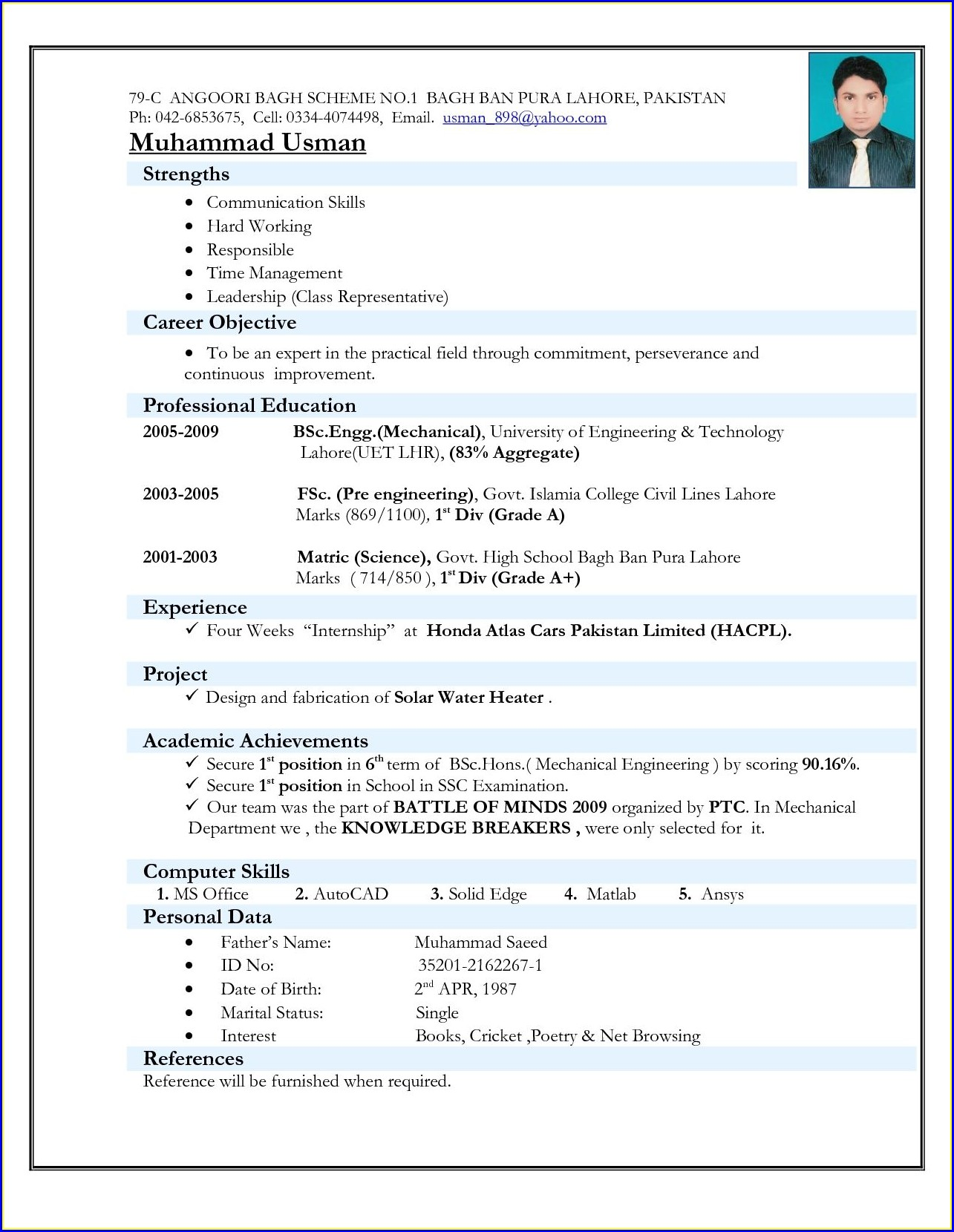 Resume For Freshers Mechanical Engineers