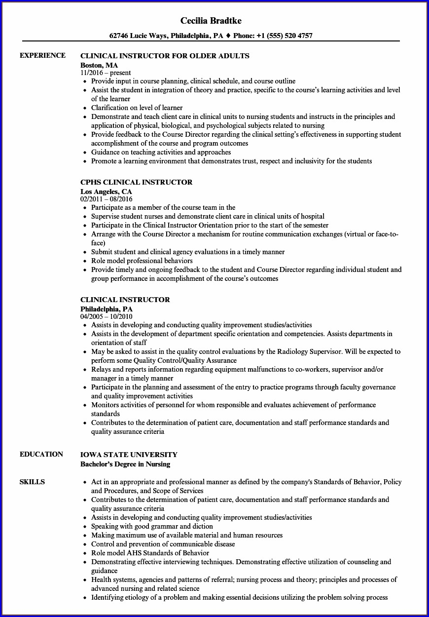 Resume For Nursing Instructor Position