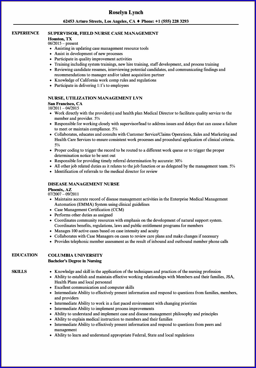 Resume For Nursing Leadership Position