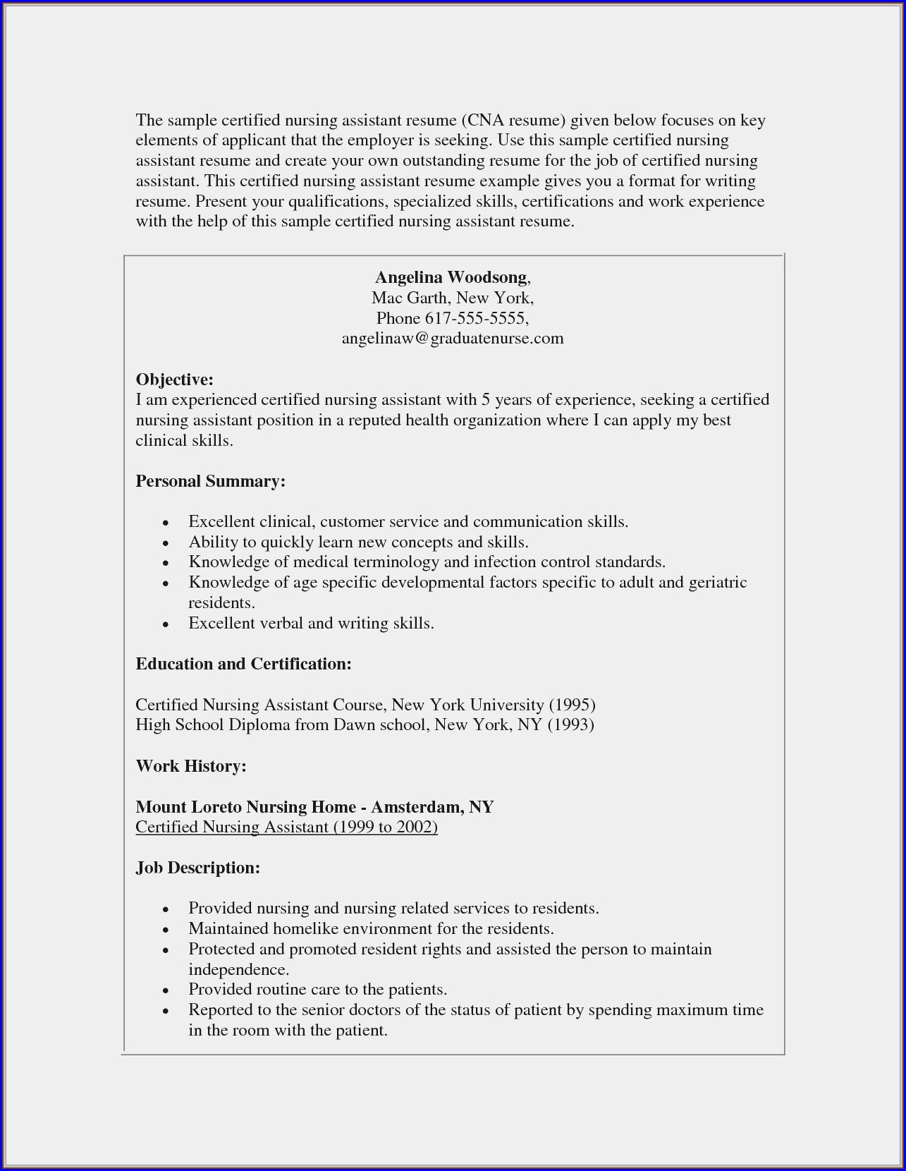 Resume For Nursing Position