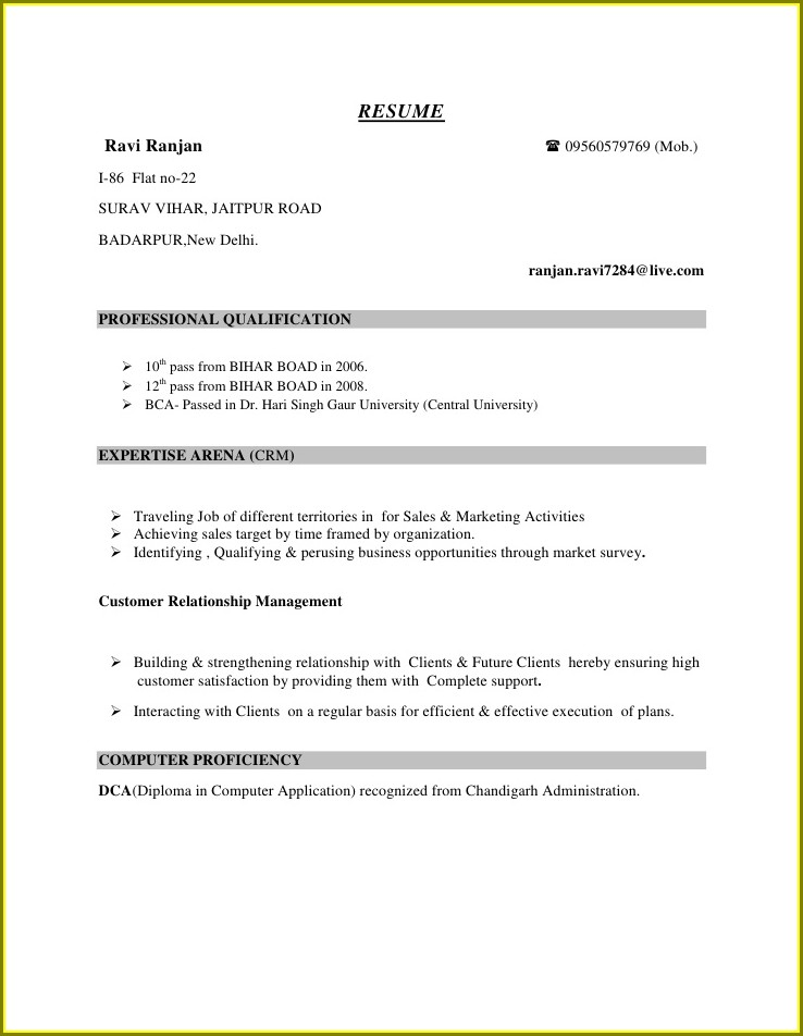 Resume Format Doc For Freshers 12th Pass Student