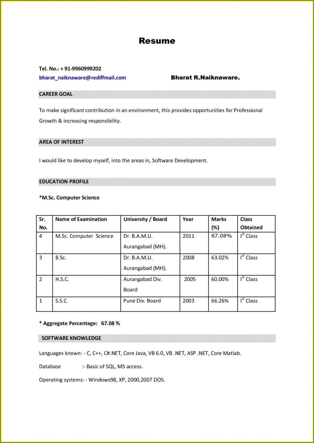 Resume Format Doc For Freshers Mba