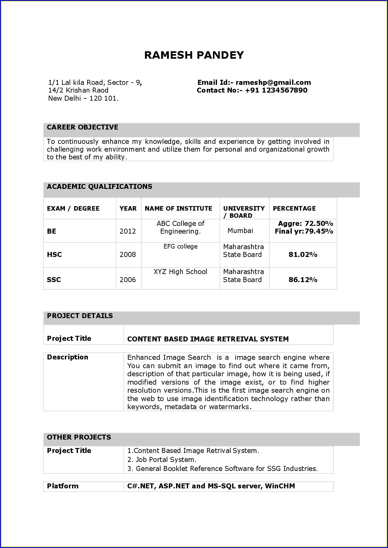 Resume Format Document Free Download