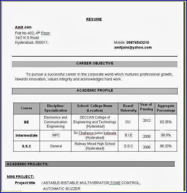 Resume Format For Freshers Ece Engineers Pdf