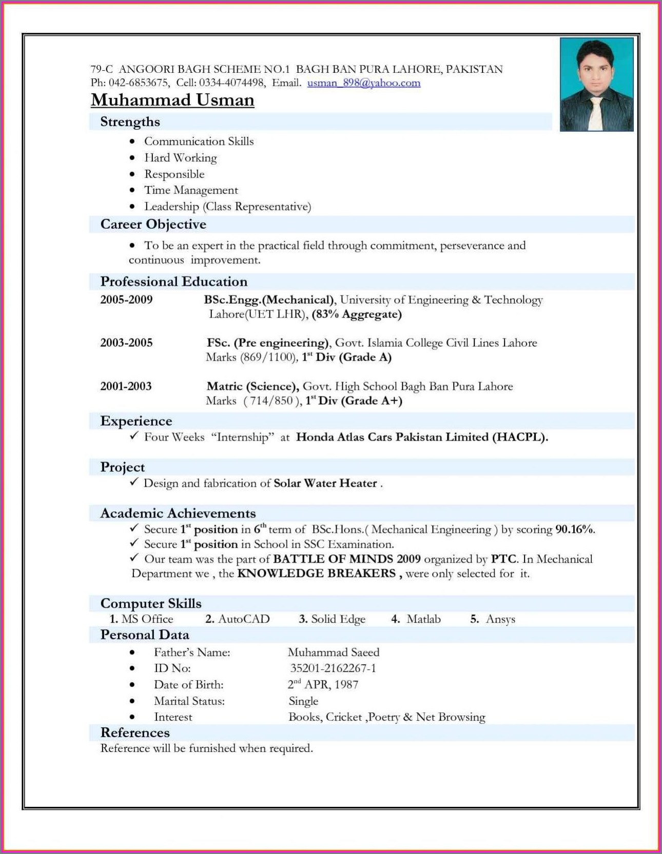Resume Format For Freshers Free Download
