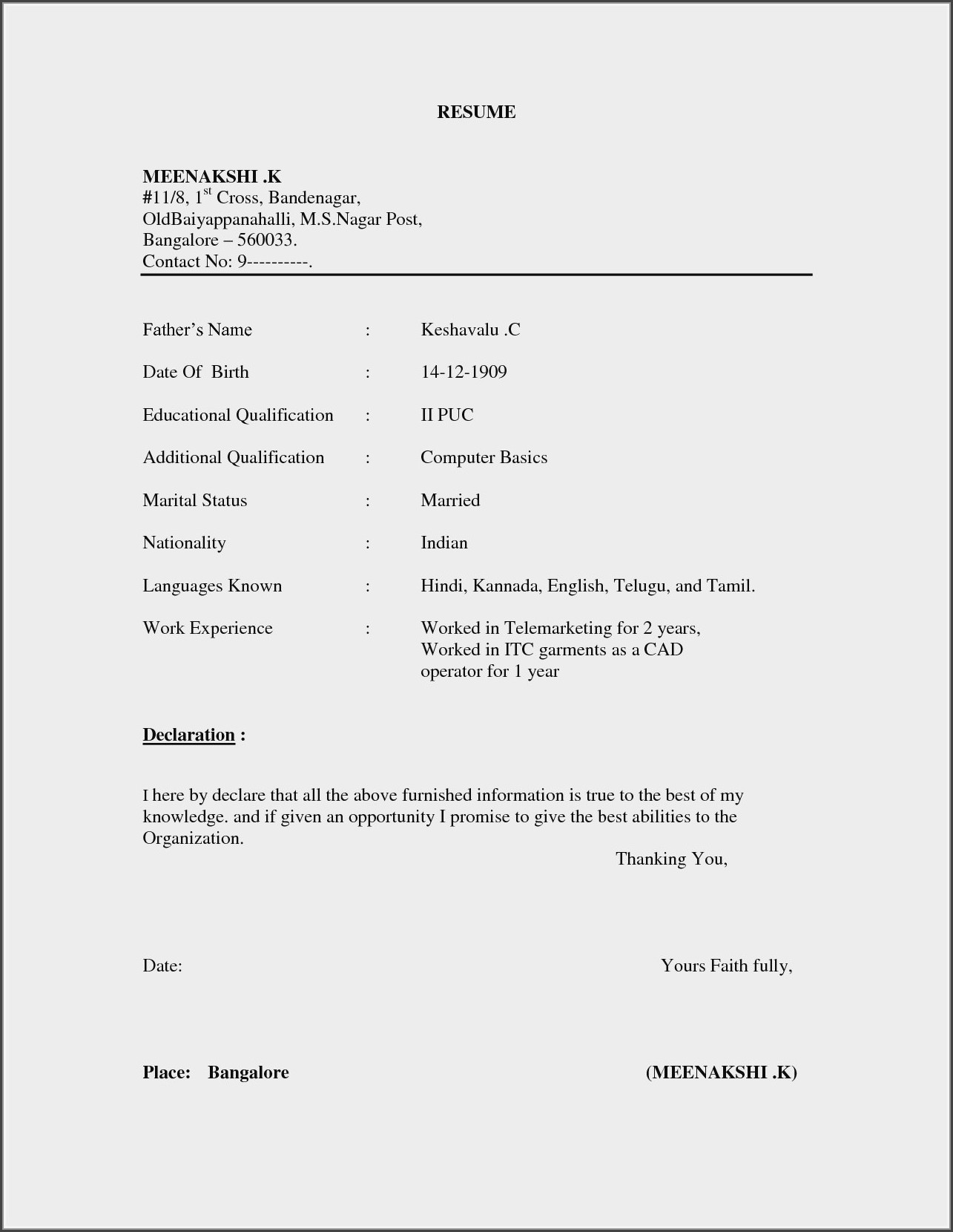 Resume Format For Indian Nurses