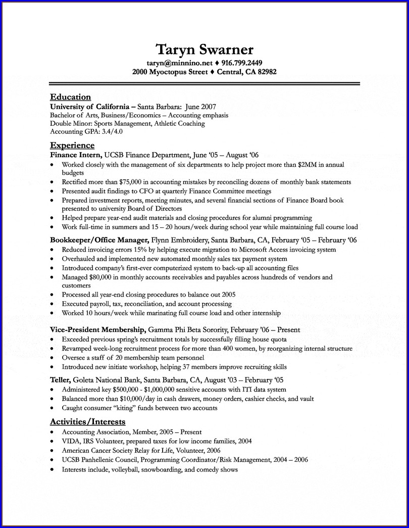 Resume Format For Mba Freshers For Internship