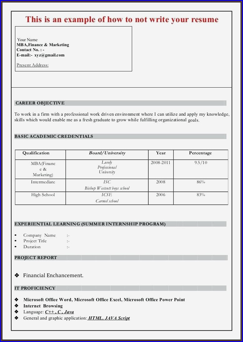 Resume Format For Mba Freshers