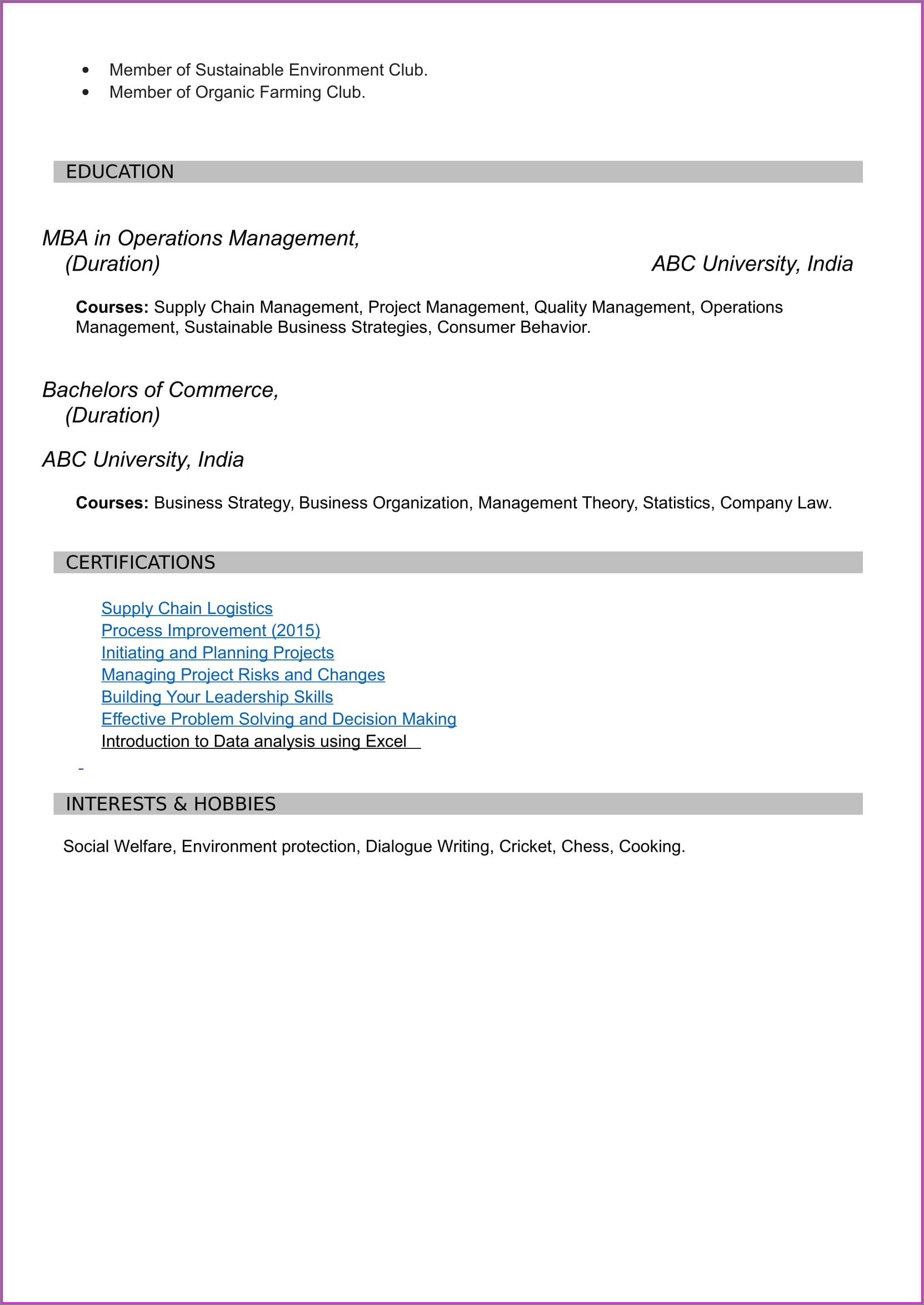Resume Format Free Download For Mba Freshers